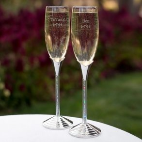 LED Glitter Stem Toasting Flutes