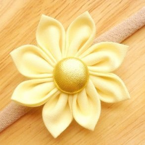 Lemon Yellow Fabric Flower Blossom Girls Headband