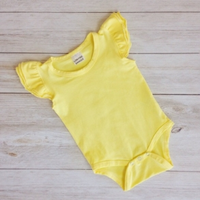 Lemon Yellow Short Sleeve Flutter Onesie