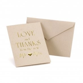 Love & Thanks Gold Foil Mr & Mrs Thank You Carads