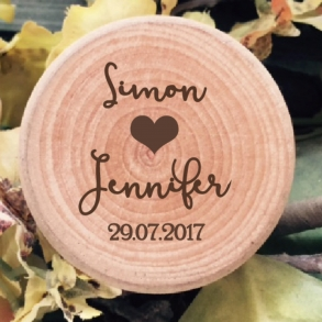 Love Heart Personalised Wooden Wedding Ring Box