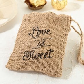 Love Is Sweet Burlap Favour Bags