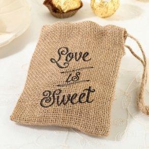 Love Is Sweet Burlap Favour Bags