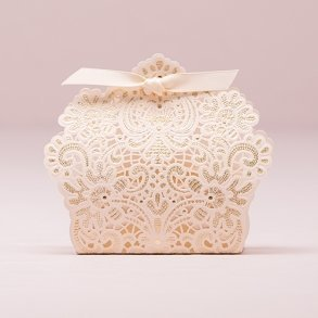 Luscious Ivory Lace Favour Box With Ribbon