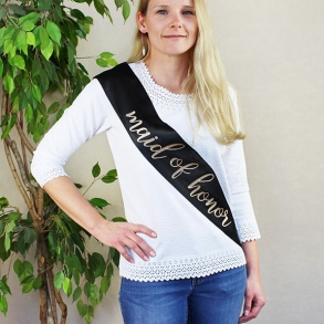 Black & Gold Glitter Satin Maid Of Honor Sash