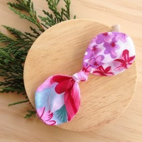 Marley Bright Floral Top Knot Bow Headband