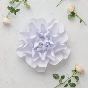 Medium DIY Paper Dahlia Decor Flower White