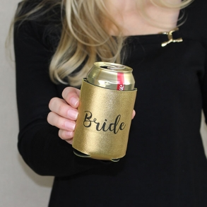 Metallic Black & Gold Bride Stubby Cooler