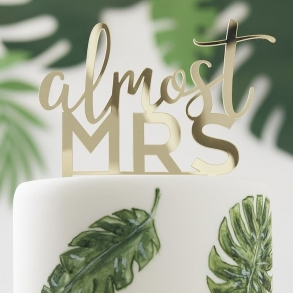 Almost Mrs Metallic Gold Cake Topper