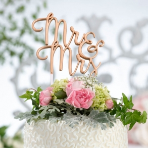 Metallic Gold Mr & Mrs Wedding Cake Pick Topper