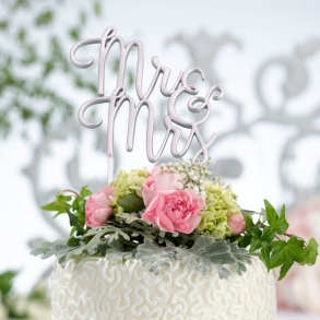 Buy wedding cake accessories toppers cupcake wrappers how divine metallic silver mr mrs wedding cake pick topper junglespirit Image collections