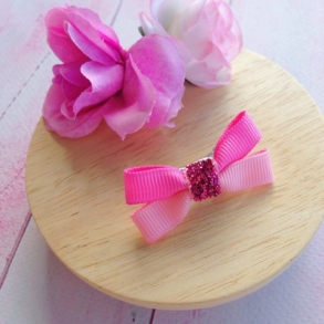 Mini Pink Two Tone Butterfly Ribbon Hair Clip