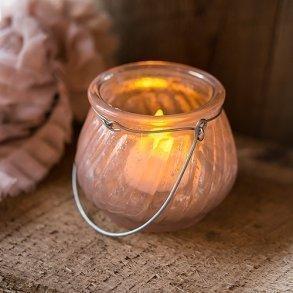 Miniature Pink Glass Tealight Holder With Hanger