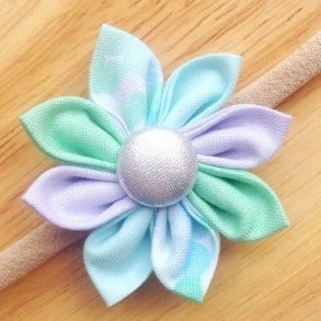 Mint Green Confetti Fabric Flower Blossom Girls Headband