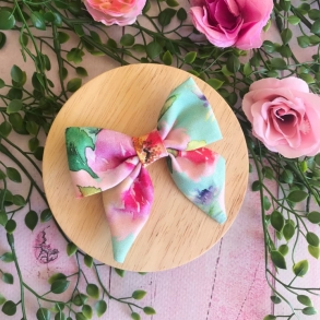 Mint Green Floral Watercolour Hair Bow Clip or Headband