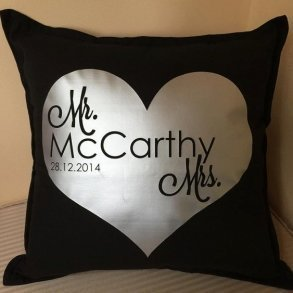 Newlywed Heart Mr & Mrs Personalised Wedding Pillow