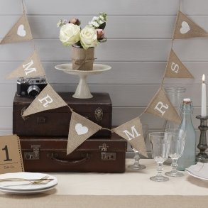 Mr & Mrs Hessian Burlap Bunting
