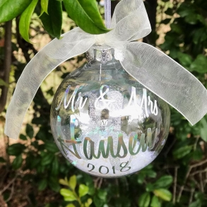 Personalised Mr & Mrs Christmas Bauble Decorations