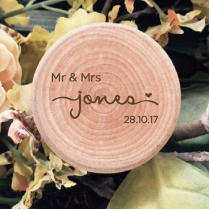 Mr & Mrs Personalised Wooden Ring Box