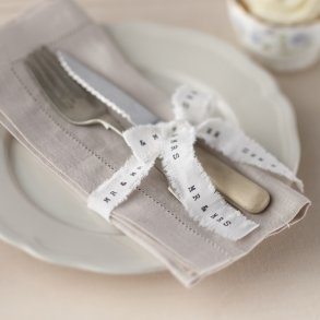 Mr & Mrs White Frayed Ribbon