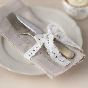 Mr & Mrs White Frayed Ribbon