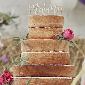Wooden Boho Mr & Mrs Cake Pick Topper