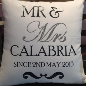 Mr & Mrs Bling Personalised Wedding Cushion - Gift