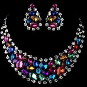 Multi Coloured Rhinestone Jewellery Set