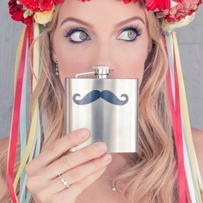 Moustache Stainless Steel Flask