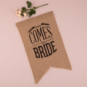 Natural Burlap Ceremony Sign - Black Print Here Comes the Bride