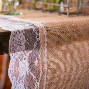 Natural Burlap Table Runner with Lace Edging