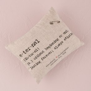 Natural Linen Personalised Ring Pillow with Vintage Type