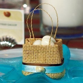 Natural Miniature Woven Beach Bags