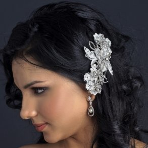 Off White Lace Comb With Flowers And Leaves