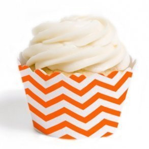 Orange Chevron Cupcake Wrappers - Pack of 12