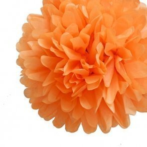 Orange Mini Tissue Paper Pom Poms - Pack of 8