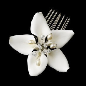 Orchid Style Bridal Comb With Crystal & Pearl Accents