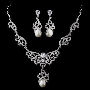 Ornamental Pearl & Rhinestone Necklace Set