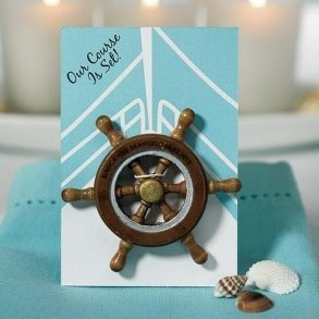 """""""Our Course is Set"""" Boat Wheel Magnet Favour"""