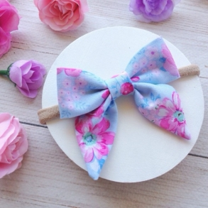 Sweet Baby Blue & Pink Floral Sailor Bow Headband or Clip