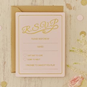 Pale Pink & Gold Foil RSVP Cards - 10 pack