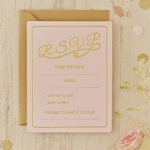 Pale Pink & Gold Foil RSVP Cards - 10 pack