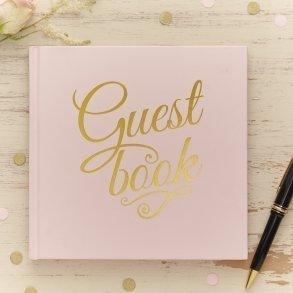 Pale Pink & Gold Foil Wedding Guest Book