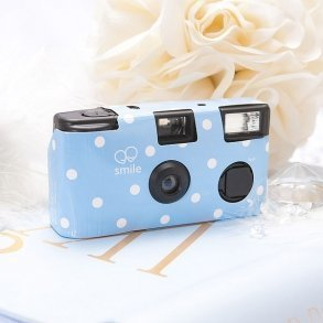 Pastel Blue Polka Dot Disposable Camera
