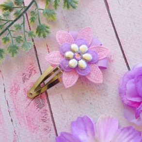 Pale Pink, Lavender & Silver Flower Snap Hair Clip