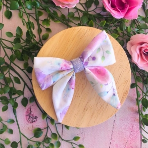 Pastel Floral Rainbow Girls Hair Bow Clip or Headband
