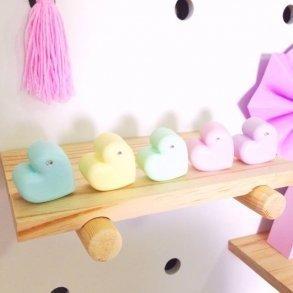 Set of 5 Pastel Rainbow Molded Hearts Kids Decor