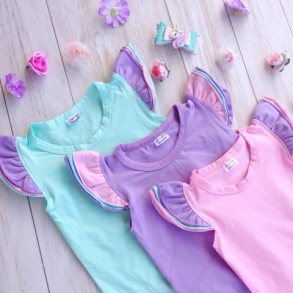 Pastel Tri-colour Short Sleeve Flutter Onesies