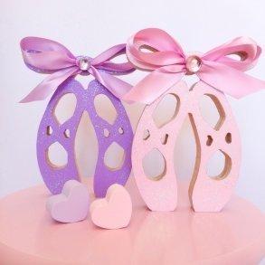 Pastel Sparkling Self Standing Wooden Ballet Shoes - Kids Decor