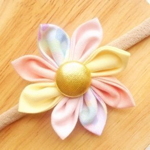 Peach Confetti Fabric Flower Blossom Girls Headband